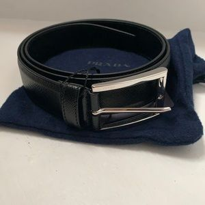 PRADA Mens Belt Black Saffiano Leather size 90 NWT